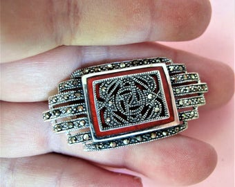 Magnificent Vintage Art Deco Style Red Jasper Marcasite Solid Silver Brooch