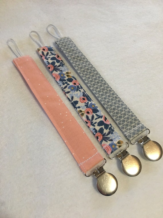 Set of three pacifier clips // baby pacifier clip // little