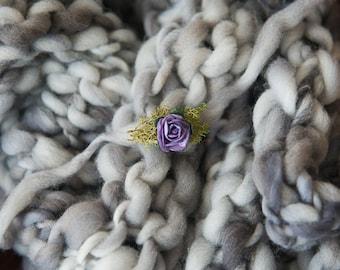 Thick and Thin Hand Knit Wool Bump Blanket, Newborn photo prop, 100% Merino wool- Cobble Stone - RTS
