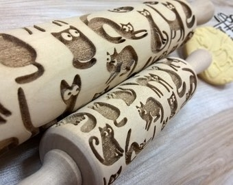 CATS Rolling Pin Wooden rolling pin Laser Cut Pattern Embossing