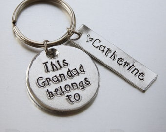 Grandad Keyring - Aluminium Key fob which can be personalised with name tags or wording of your choice. This Grandad belongs to...