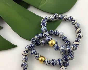 Hand painted ceramic bead bracelet