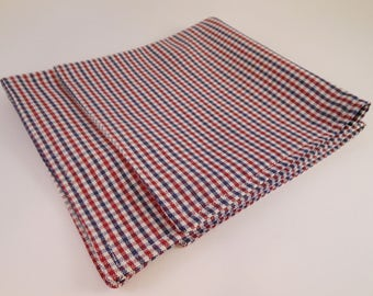 Blue, Red, and White Fine Plaid Pocket Square