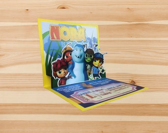 Beat Bugs Custom Designed Pop-Up Invitation made with Premium Cardstock and Laser Printed
