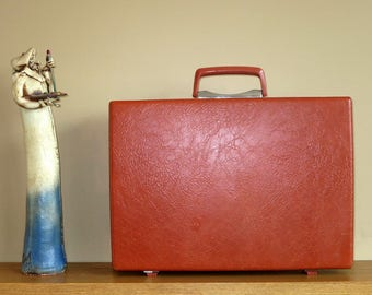 Vintage Samsonite Burnt Orange Hard Shell Briefcase Attache - Rare Retro