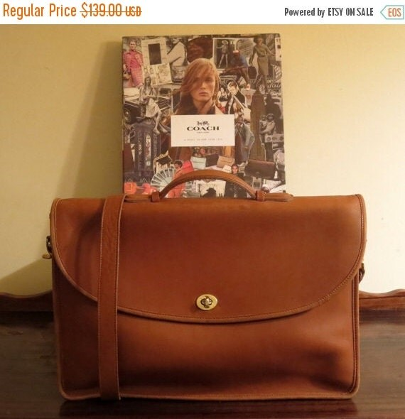 Football Days Sale Coach Lexington British Tan Leather Briefcase Laptop IPad Messenger Bag - Made in U.S.A- Very Good Condition