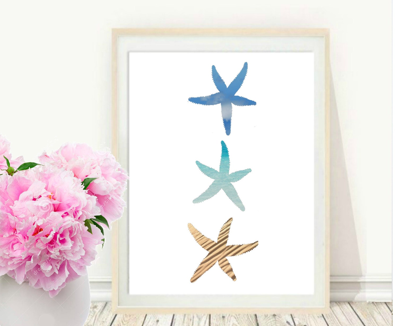 Starfish Art Print Starfish Wall Art Printable Art Starfish