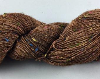 hand dyed sock yarn, donegal tweed sock, superwash merino and NEP, colorway BROWNIE