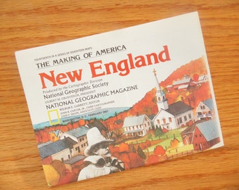 1987 National Geographic Map - New England - The Making Of America