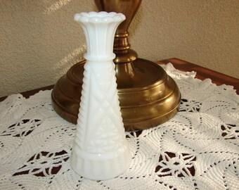 "Vintage ***SALE*** Milk Glass, 6"" Bud Vase, Paneled, Pressed Glass, Wedding, Cottage, Romantic, Cottage Chic, French Cottage, White, Vases"