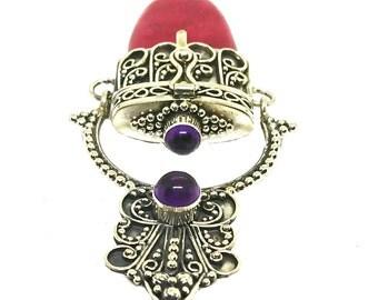 TANAH MERAH Bali Design Silver Prayer box/ Locket Pendant with Red Coral & semi precious stones