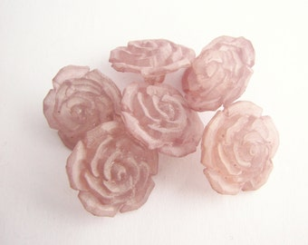 6 light pink buttons, Pale rose buttons in flower shape with shanks, unused!