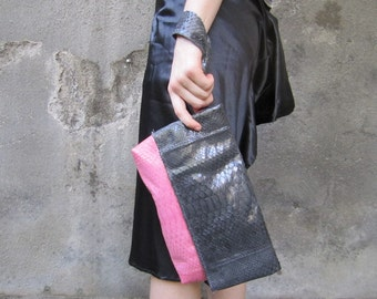 SALE 20% OFF , Pink & Grey color python leather clutch, Colorblock  foldover leather clutch