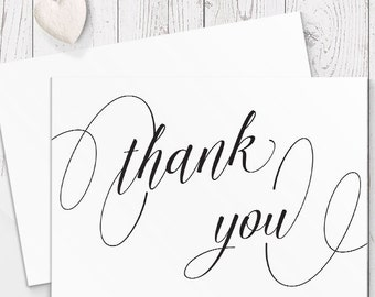 Black and White Wedding Thank You Card, Calligraphy, Free Colour Changes, Professionally Printed - Peach Perfect Australia