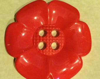 60mm red flower plastic 4 hole button.