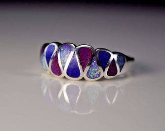 Sterling silver Teardrop ring with Lapis Lazuli, Sugilite, & Lavender fire Opal Size ~ 7.5, 9.5, 10