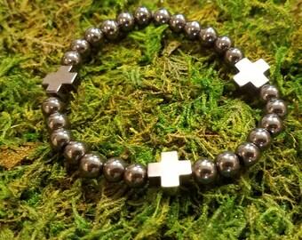 Hematite Cross Bracelet
