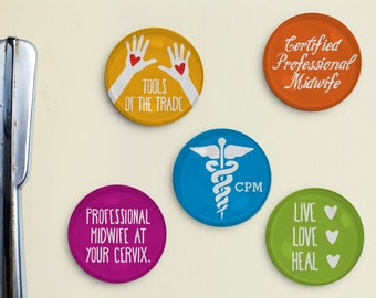 Midwife Magnets - certified professional midwife, midwife gift, doula gift, midwifery, midwife thank you gift, medical midwife