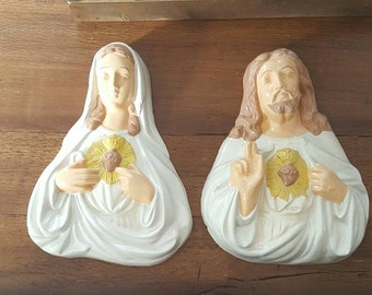 Vintage plaster plaques....Immaculate heart of Mary....Sacred Heart of Jesus....large....heavy....good condition