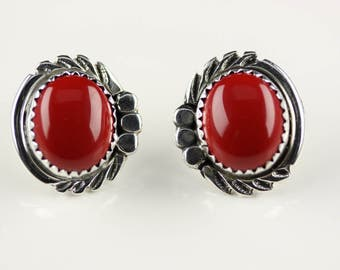 Native American Sterling Silver Coral Post Earring