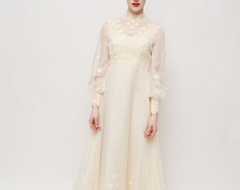 Vintage 70s Wedding Dress - Creme, Long Sleeved, Train, Wedding Gown, Sheer, High Neck
