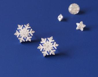 Snowflake Earrings 925 Sterling Silver Dainty Stud Earrings