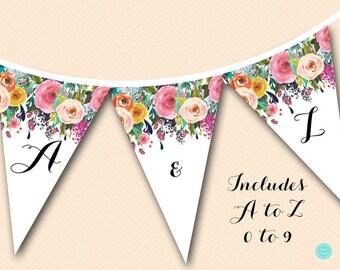 printable garden bridal shower banner garden bunting floral banner floral wedding banner
