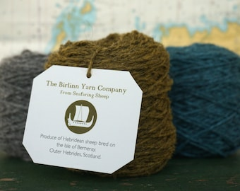 Organic Dyed Pure Wool Hebridean/Cheviot Blended knitting yarn:  CÒINNEACH - MOSS DK 50g