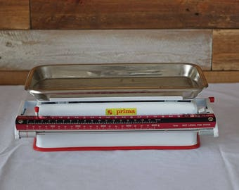 Vintage kitchen scales - Prima scales - Made in Yugoslavia - Enamel - 10 KG scales -  Retro Rustic Industrial Decor