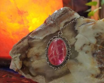 Handmade Embroidery Floss Silver Oval Filigree Pendant in Cork Bottle Pink, Hot Pink, Baby Pink