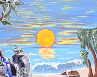 Original Acrylic on Wood Sunset on the Beach Cabin Painting