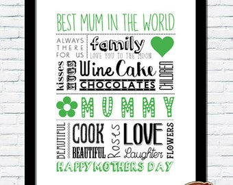 Bespoke Personalised Mother's Day Unique Word Art Print Mummy Birthday Gift, Best Mum in The World