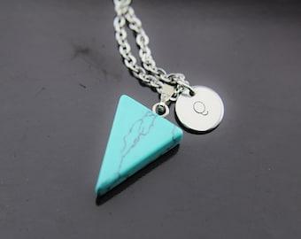 Turquoise Necklace, Turquoise Jewelry, Turquoise Pendant, Triangle Turquoise Pendant, Personalized Necklace, Initial Charm, Initial Necklace