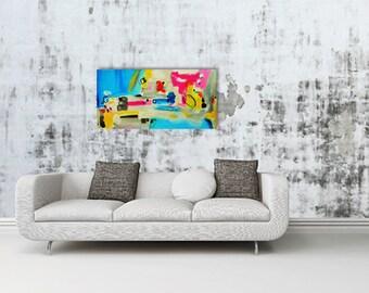 """Peinture abstraite acrylique """"Liberté"""" 36 x 18 x 1.5 """" originale ou reproduction sur toile // cadeau fête, noël, art déco, décoration murale"""