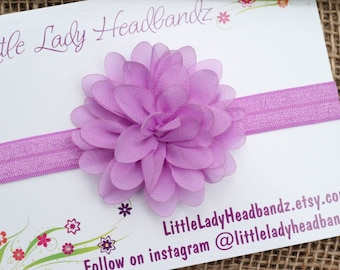 Lilac baby headband light purple lavender baby headband - chiffon flower - infant newborn toddler