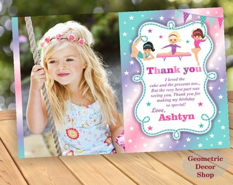 Thank you card Birthday Party cards Gymnastic Digital Girl Pink Purple Teal Aqua Gymnastics Party Printable Photo Photograph THG4