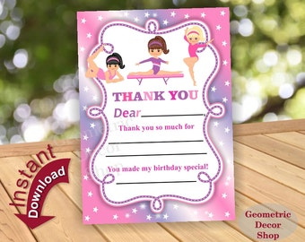 Gymnastic Thank you card / Gymnastics birthday thank you / Instant Download / Fill in the blanks / Pink Purple THG5