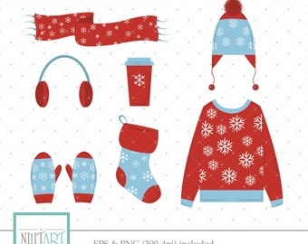 Winter clothes clip art, glove clipart, vector graphics, winter clip art, digital images