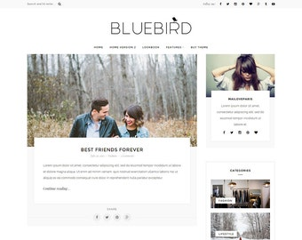 Wordpress theme - wordpress template- Feminine wordpress theme - Responsive WordPress Blog Theme - Fashion Blog template - Bluebird theme
