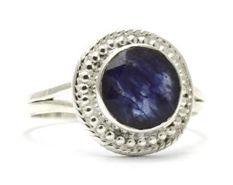 Created Sapphire Ring, 925 Sterling Silver, Unique only 1 piece available! SIZE 6.50 (inner diameter 17mm), color navy blue, weight 2.9g,