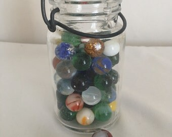 Vintage Wire Closure Jar With Lot of Vintage Glass Marbles, 65 Glass and Assorted Marbles, Speckled Marbles