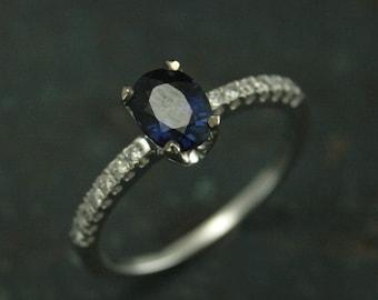 Sapphire Ring~Diamond Ring~Sapphire and Diamonds~Blue Sapphire~Oval Sapphire~Sapphire Stars~White Gold Sapphire Ring~Modern Sapphire Ring