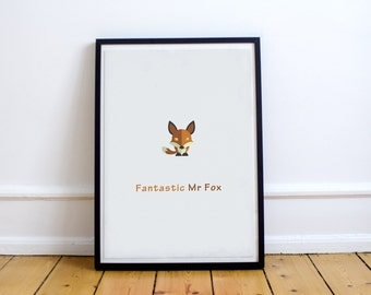 Fantastic Mr Fox - Custom Minimal Modern Art Movie Poster Print Abstract