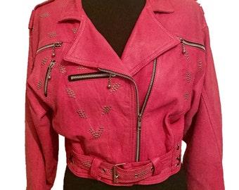 Pink Fringed Leather Biker Jacket