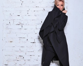 Black Wool Coat/ Cashmere Coat/ Black Coat/ Winter Coat / Wool Coat /Long Coat/ Extravagant Coat /Black Jacket /Warm Jacket/Asymmetric Coat