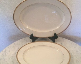 "Vintage Noritake Ivory China ""Linton"" Pattern No. 7552. Set Of Two (2) Oval Serving Platters. Made In Japan. Discontinued Circa 1966."