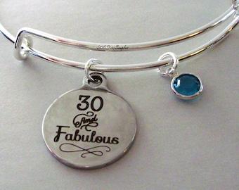 30 and Fabulous CHARM Bangle W/ Swarovski  Birthstone Crystal Drop Bangle /Happy Birthday Bangle - Gift For Her Under Twenty  Usa HB1