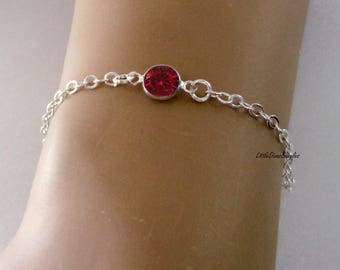 July 925 STERLING Silver Personalized  Birthstone BRACELET/ ANKLET Birthday - Wedding Gift  Gift For Her  Dainty Minimalist Jewelry  usa