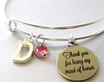 Thank You For Being My Maid of Honor Charm Bracelet W/ Birthstone Drop /  Ma id Of Honor Bangle / Wedding Party Gift For Her USA # S1 - 05