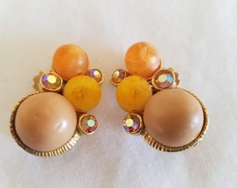 Vintage 1960s Earrings, Vintage Jewelry, Vintage Clip On Earrings, Clip On Earrings, Summer Earrings,  Orange Earrings, Yellow Earrings